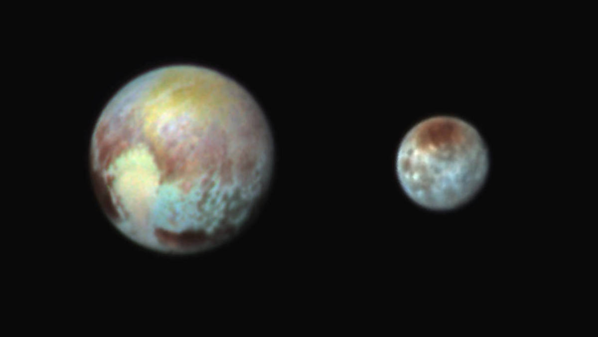 July 13, 2015: False-color images help bring out differences in terrain and composition.