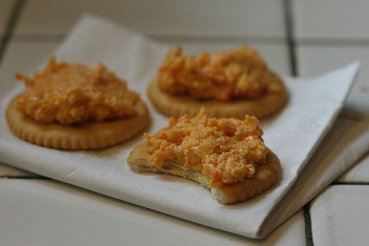 Homemade Pimento Cheese On Crackers Is So Very Delicious.