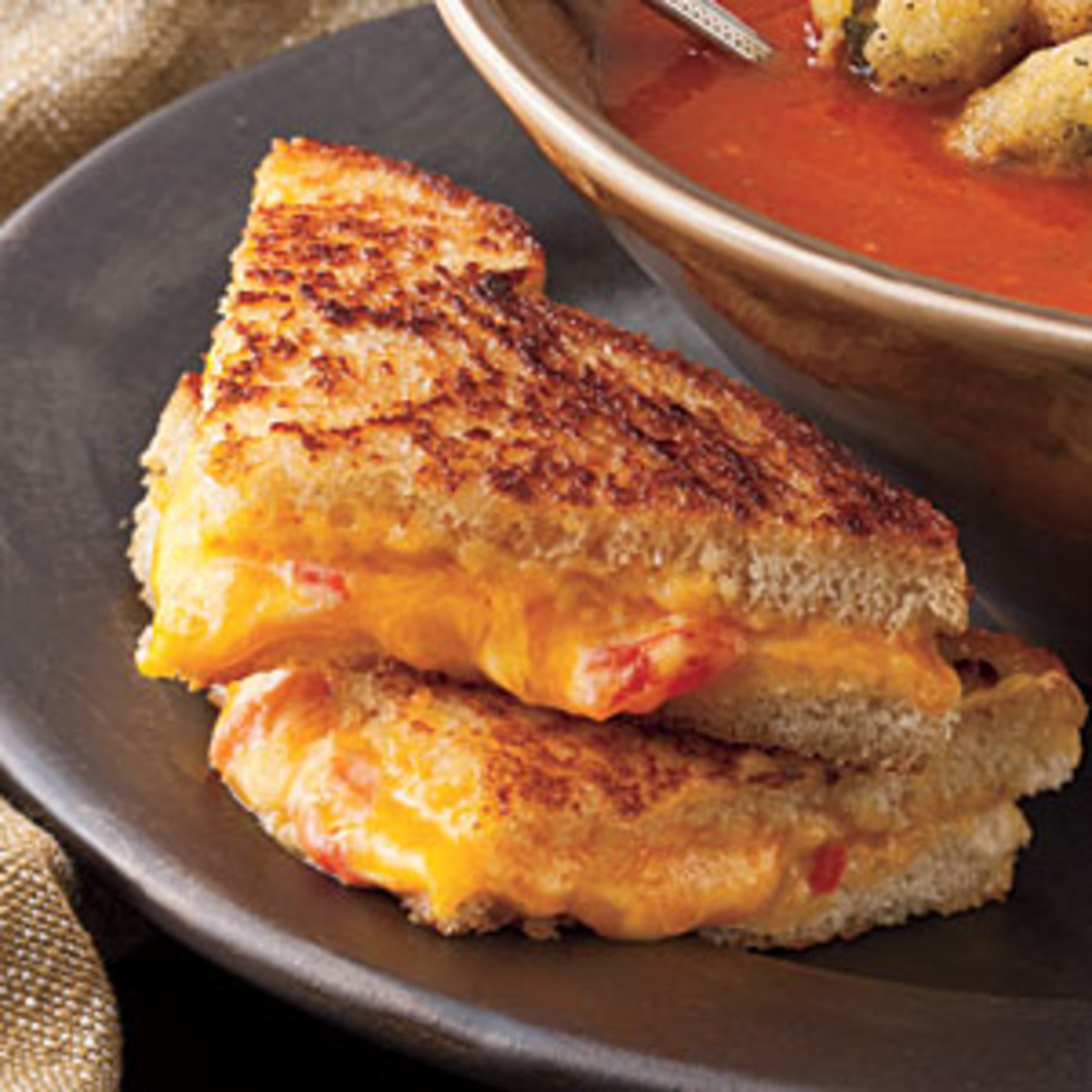 Grilled Pimento Cheese Served With Homemade Tomato Soup Is So Very Delicious.