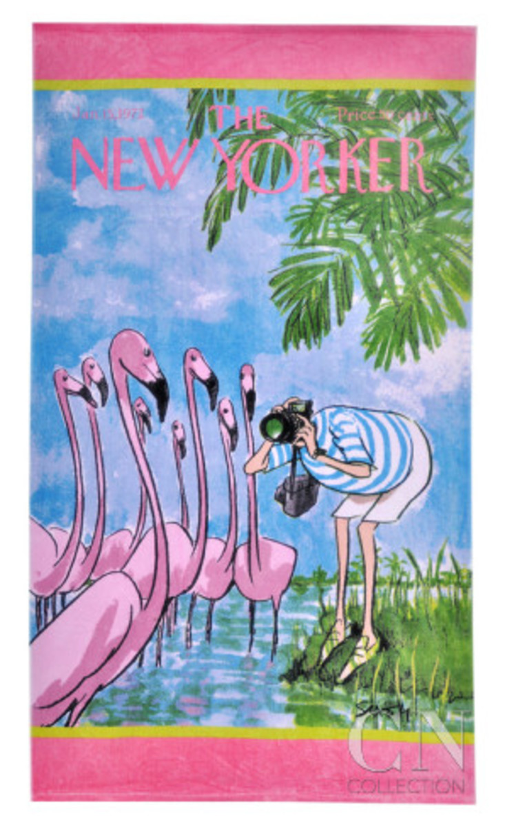 Take a flamboyance of flamingos to the beach with this beach towel featuring a New Yorker cartoon.