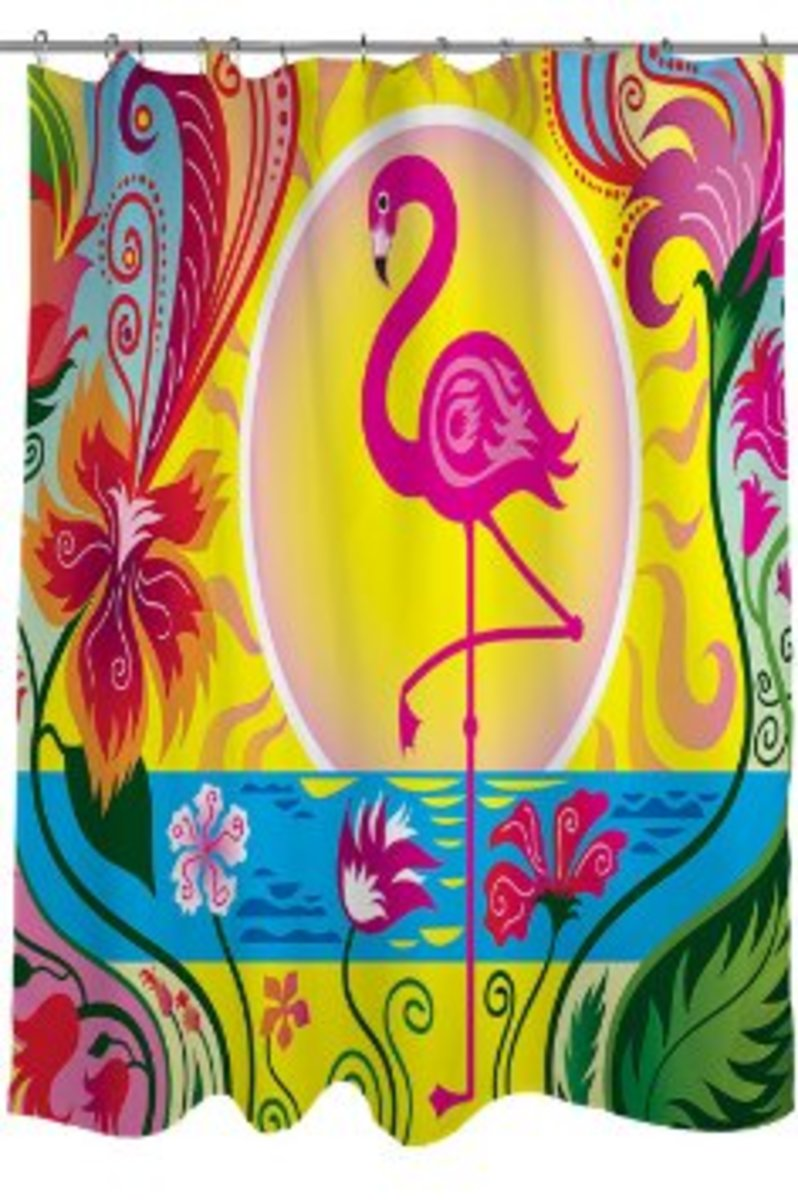 A prancing flamingo graces this colorful shower curtain.