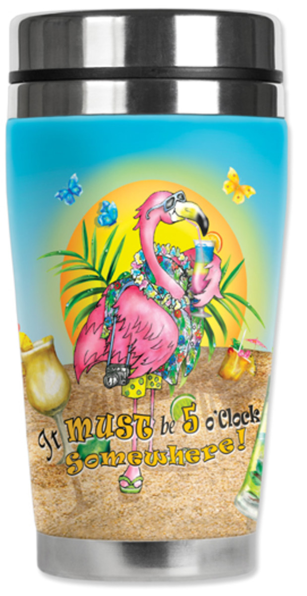 A flirty flamingo decorates this insulated tumbler.