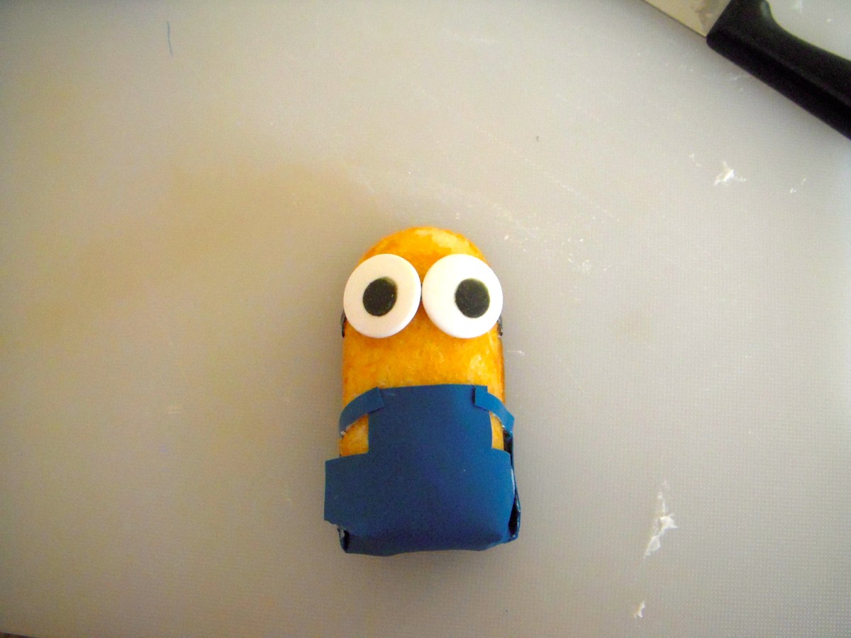 Place a small amount of icing onto backs of eyes. Place eyes on Twinkie, over headband. Congratulations! You have a Minion.