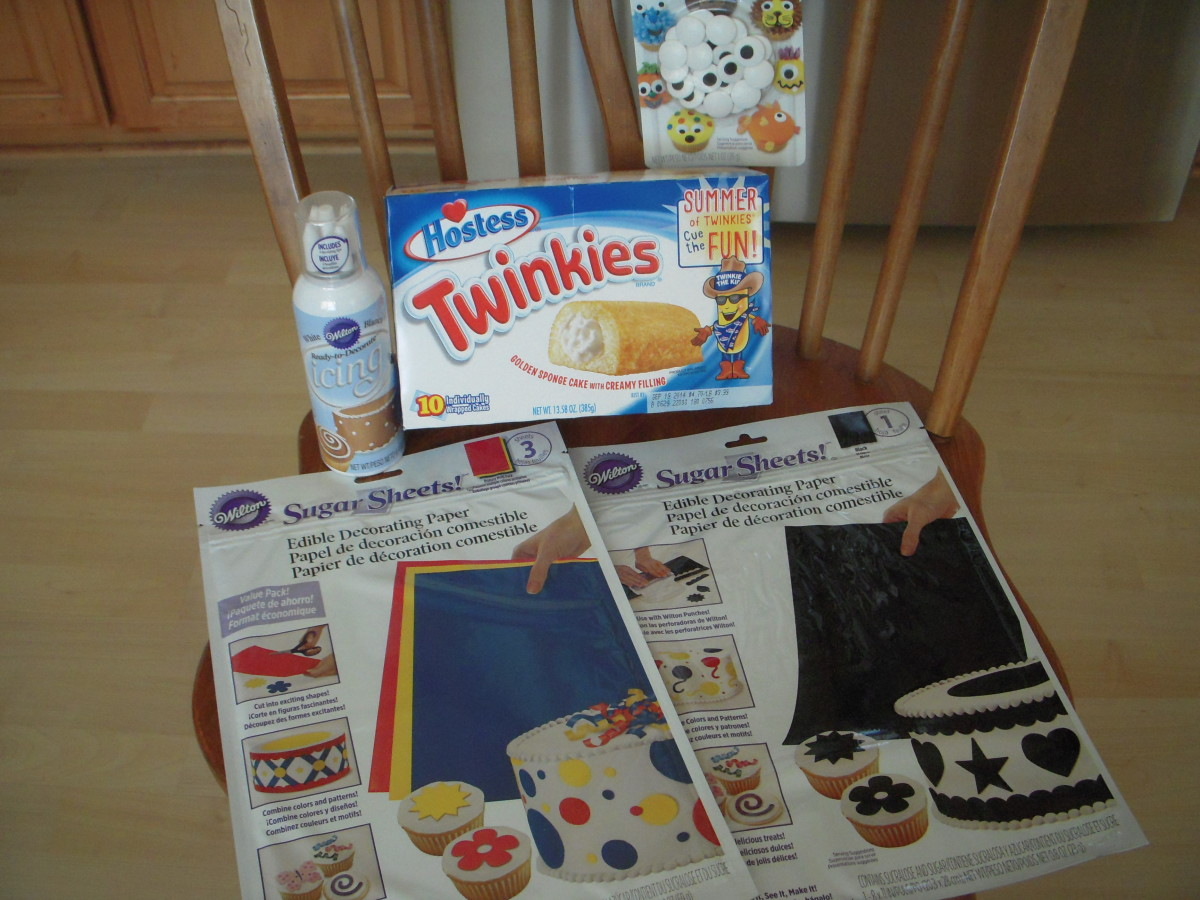Pictured: Hostess Twinkies, Wilton Sugar Sheets (blue and black,) icing in a can, Wilton sugar eyes (large size.)