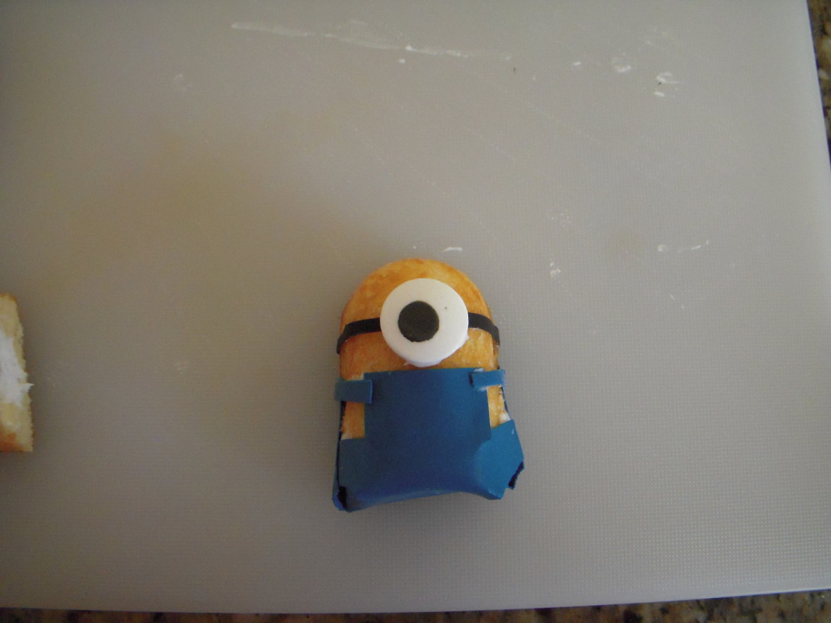 Here is a one-eyed Minion, made with half a Twinkie