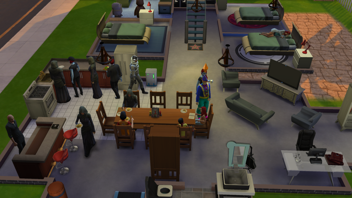 Sims holding a costume party in The Sims 4. Parties are key to several Achievements.
