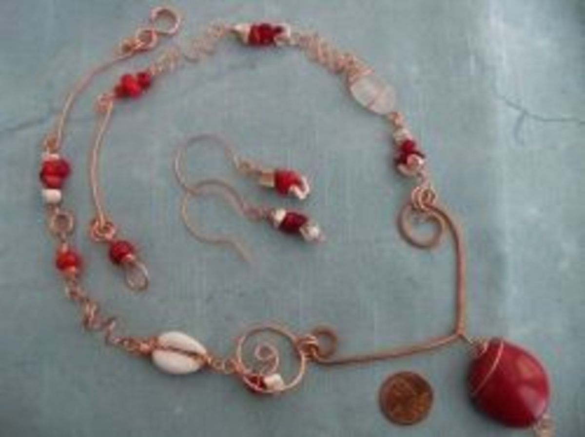 Polymer Clay Jewelry - Woodland Necklace Red