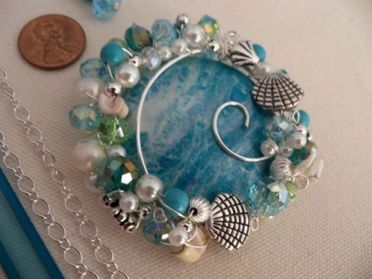 Polymer Clay Jewelry - Blue Cab with pearls