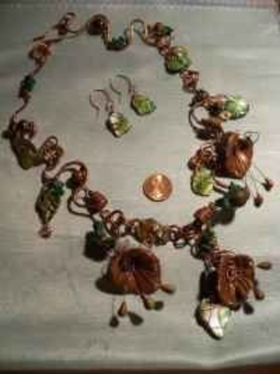 Polymer Clay Jewelry - Organic leaves