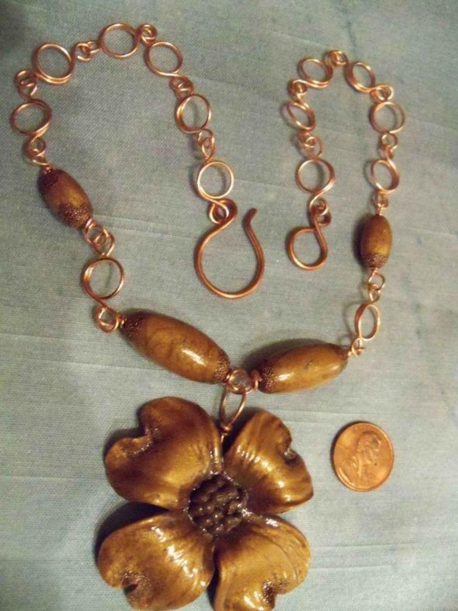Polymer Clay Jewelry - Dogwood Copper Links