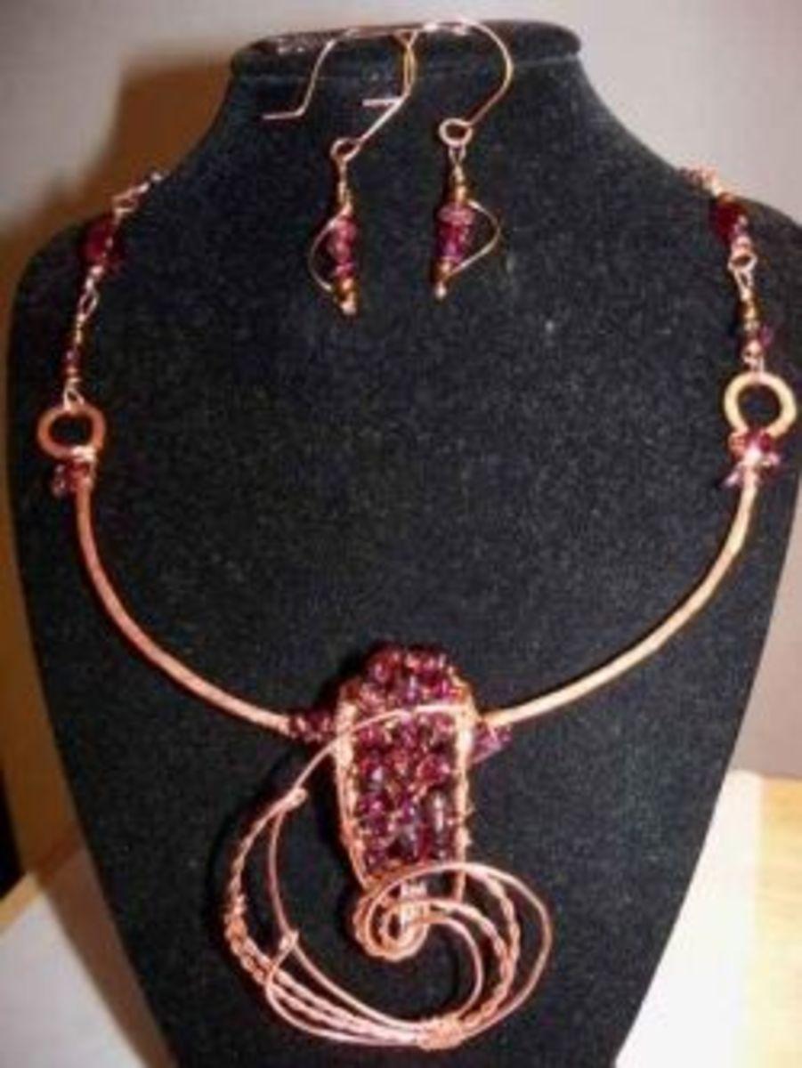 Polymer Clay Jewelry - garnet wire works