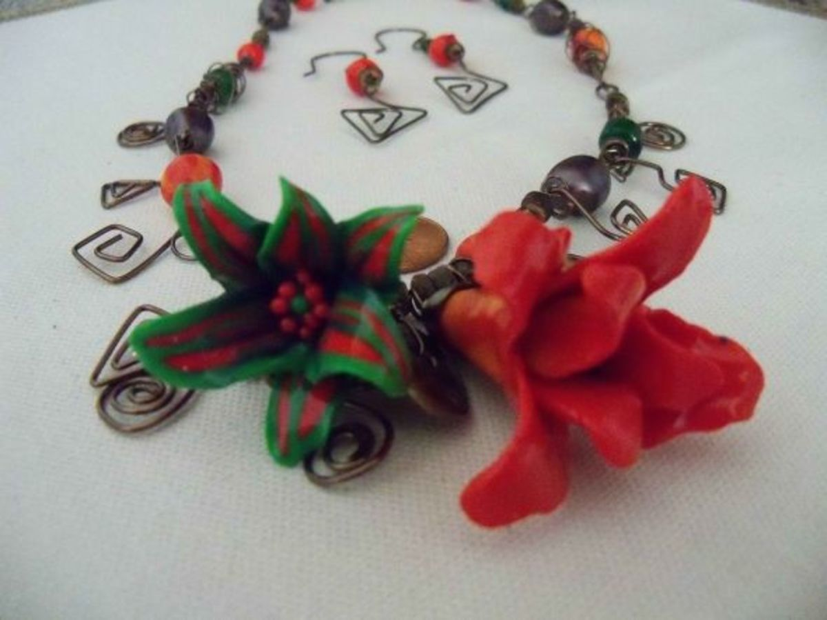 Polymer clay jewelry in Christmas Colors