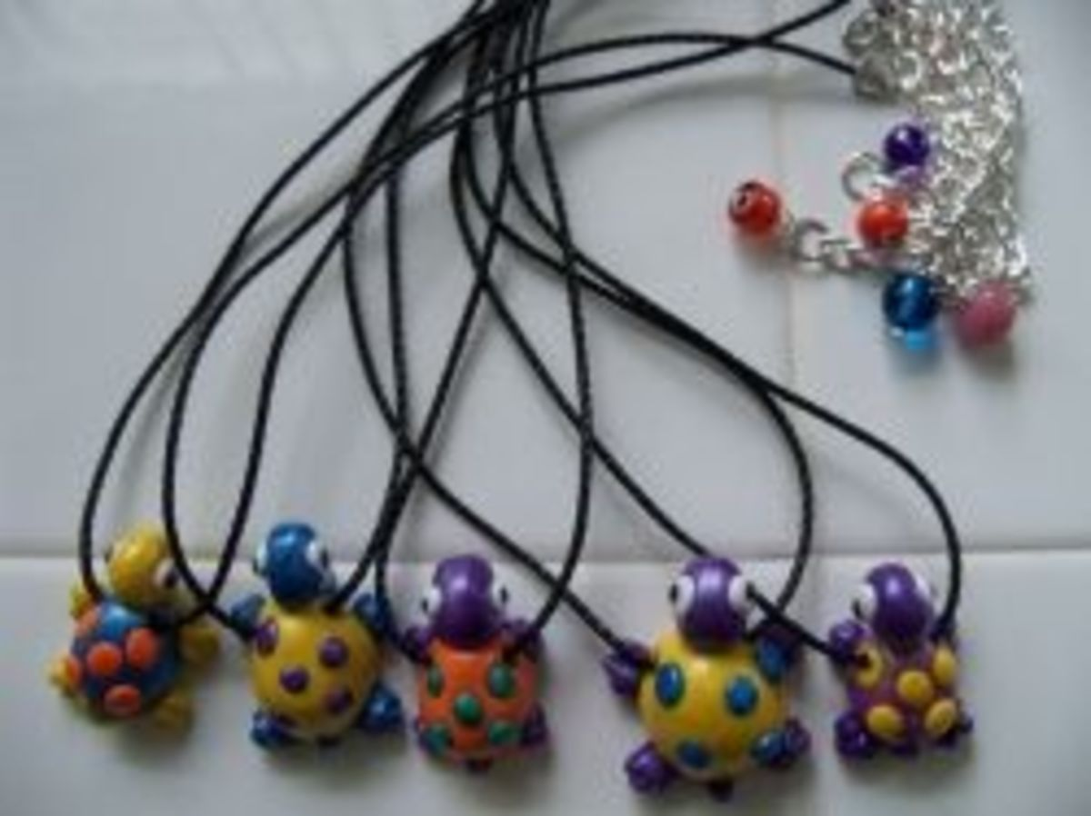 Polymer Clay Jewelry - Kids Turtle Pendants
