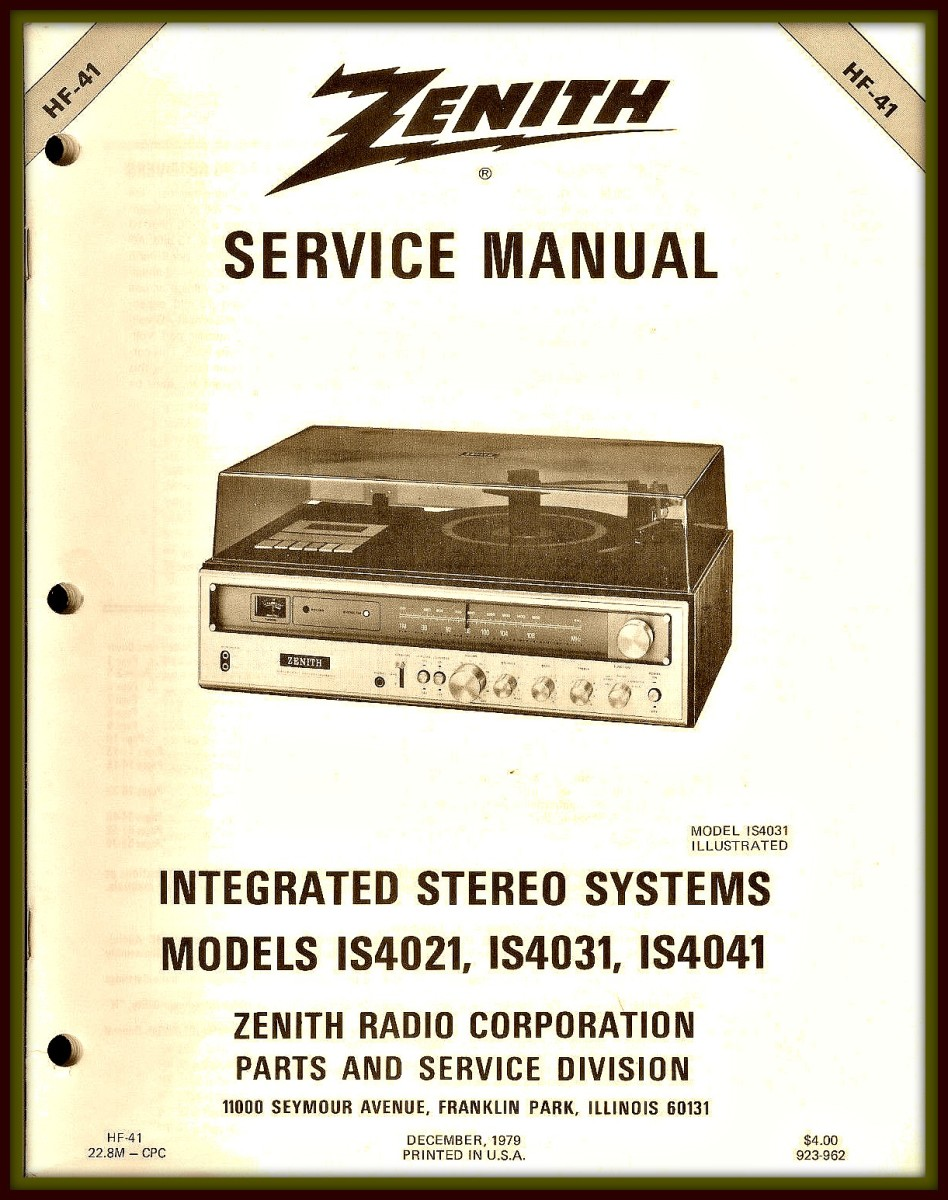 Rare Original Factory Zenith IS 4021 4031 4041 AM FM Stereo Receiver Turntable Service Manual