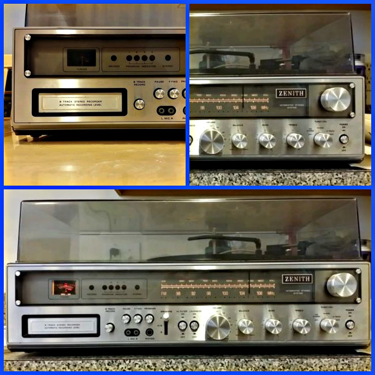 It has a state of the art  FM and AM broadcasting stereo, with a made in Japan by Zenith eight track player, a British made for Zenith record changer, and the solid state stereo unit in brushed silver looks shape and modern in this unit.