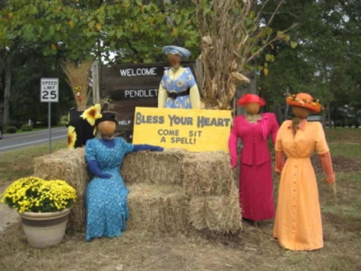 These lady scarecrows invite you to come sit a spell in Pendleton, SC