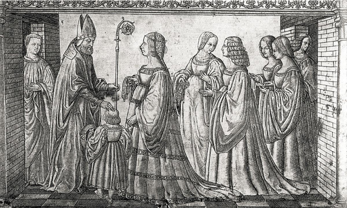 Lucrezia Borgia presenting her son Ercole to St. Maurelio - Silver plaque engraved by Giannantonio da Foligno (1508)
