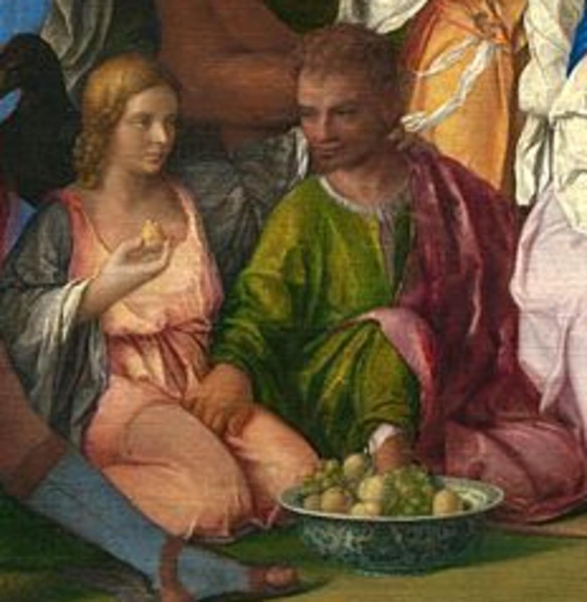 Giovanni Bellini, Feast of the Gods, detail with Gea (Lucrezia Borgia ?) and Neptune