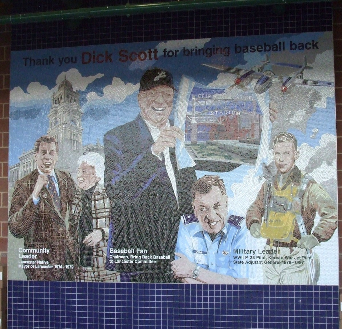 A mosaic honors the citizen who led the campaign to bring professional baseball back to Lancaster, PA.