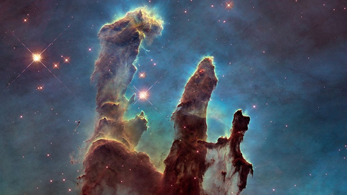 "Hubble Space Telescope famous ""Pillars of Creation"" image of the Eagle Nebula in January 2015."