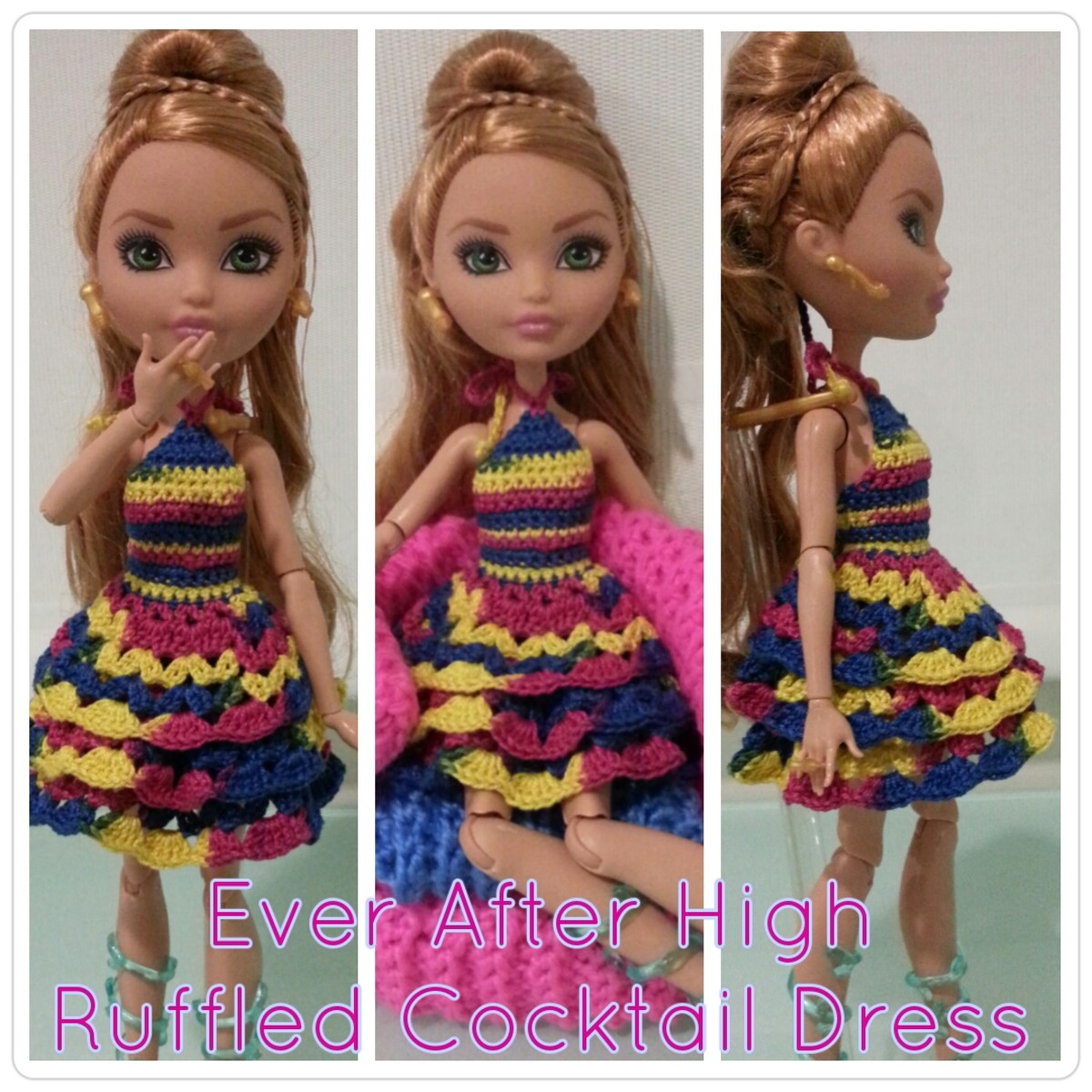 Ever After High Ruffled Cocktail Dress (Free Crochet Pattern)