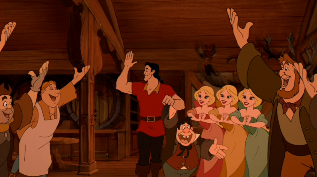 "The obvious ""Hero"" franchise cartoony look Gaston seems to ooze: Gaston is handsome, strong, a ladies man, and the Peoples choice"