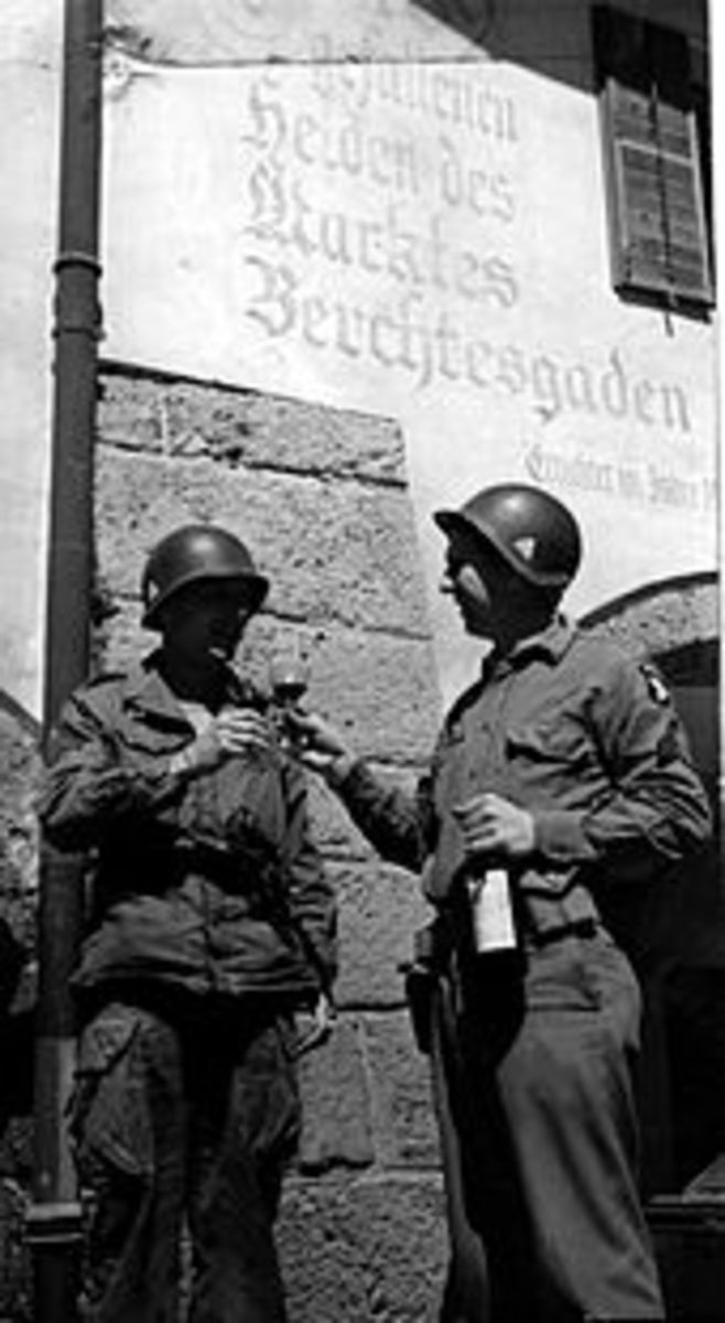 American soldiers toast their liberation of Berchtesgaden.