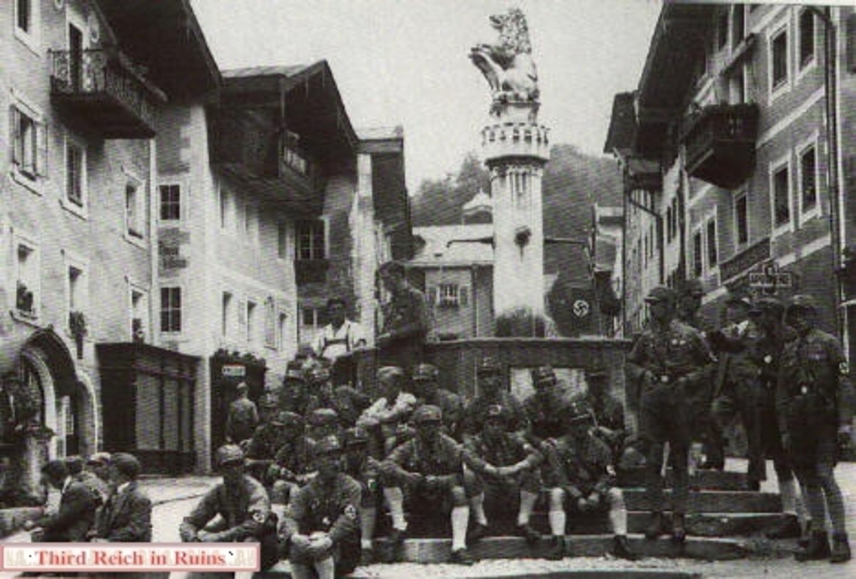 Members of the SA gather at the fountain in the Berchtesgaden main square in the 1930s