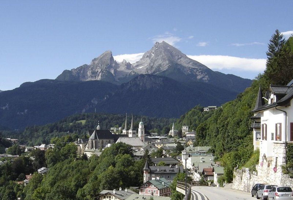 View of the village of Berchtsgaden with Watzmann in background.