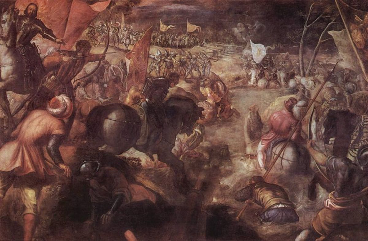 Tintoretto, Battle of Fornovo (a. 1578), Monaco - Francesco Gonzaga appears on his horse  on the left side of the painting