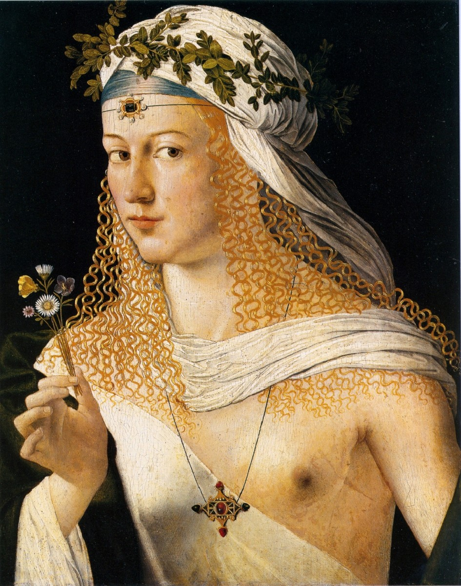 Bartolomeo Veneto, Presumed portrait of Lucrezia Borgia as Flora (1505)