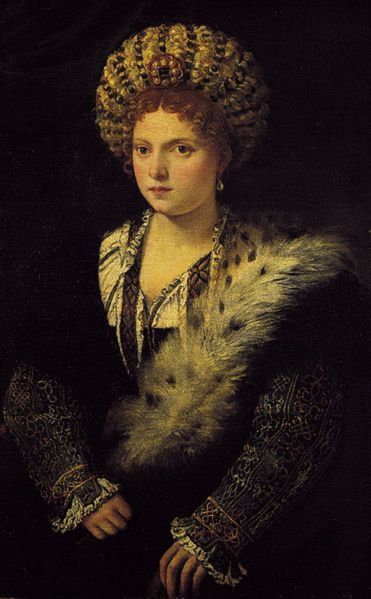 Titian, Portrait of Isabella d'Este (1534), Wien Kunsthistorisches Museum - Isabella d'Este was sixty at the time of this painting, but Titian depicted her as she had 40 years less.