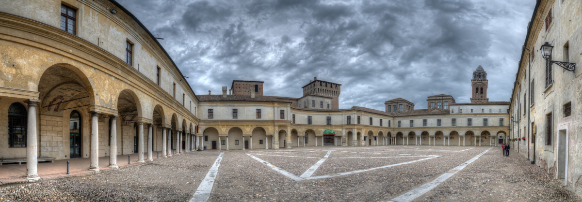 The square of Gonzaga Castle in Mantua