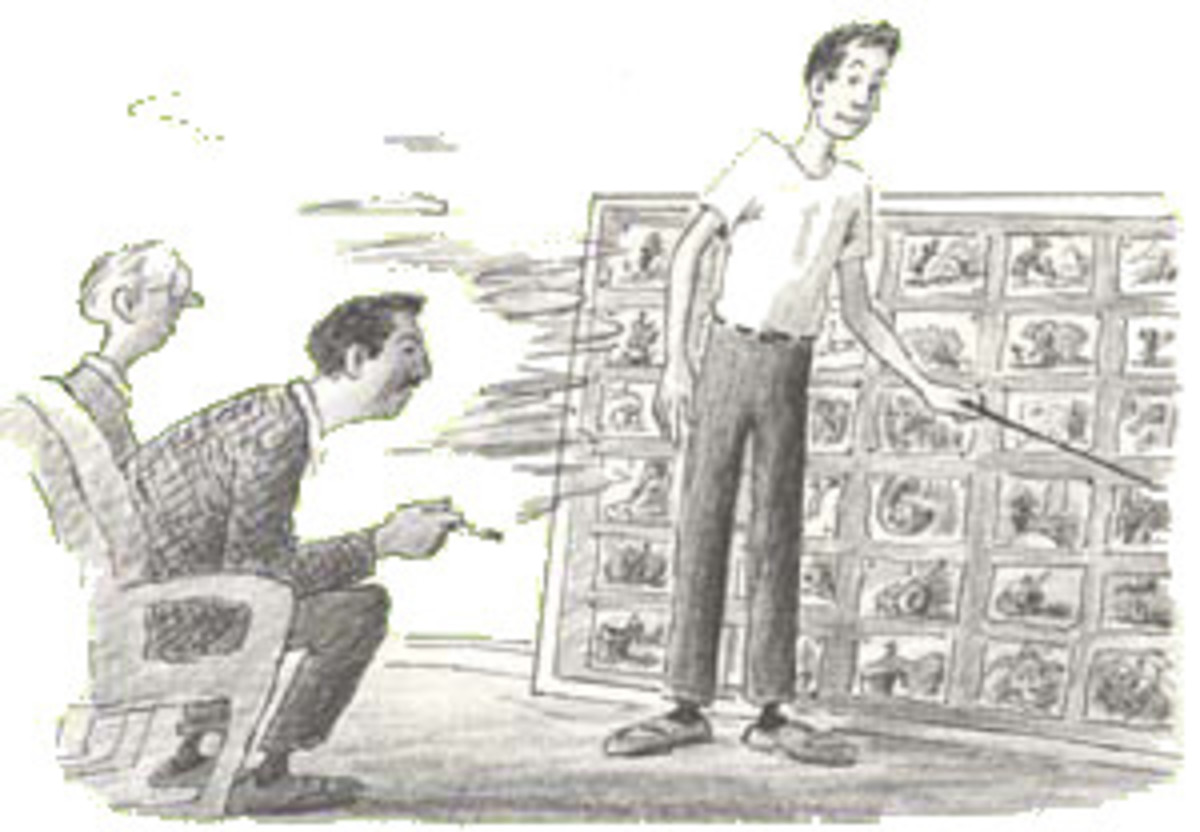 Bill Peet explaining the storyboard to Walt Disney from his autobiography, which I own.
