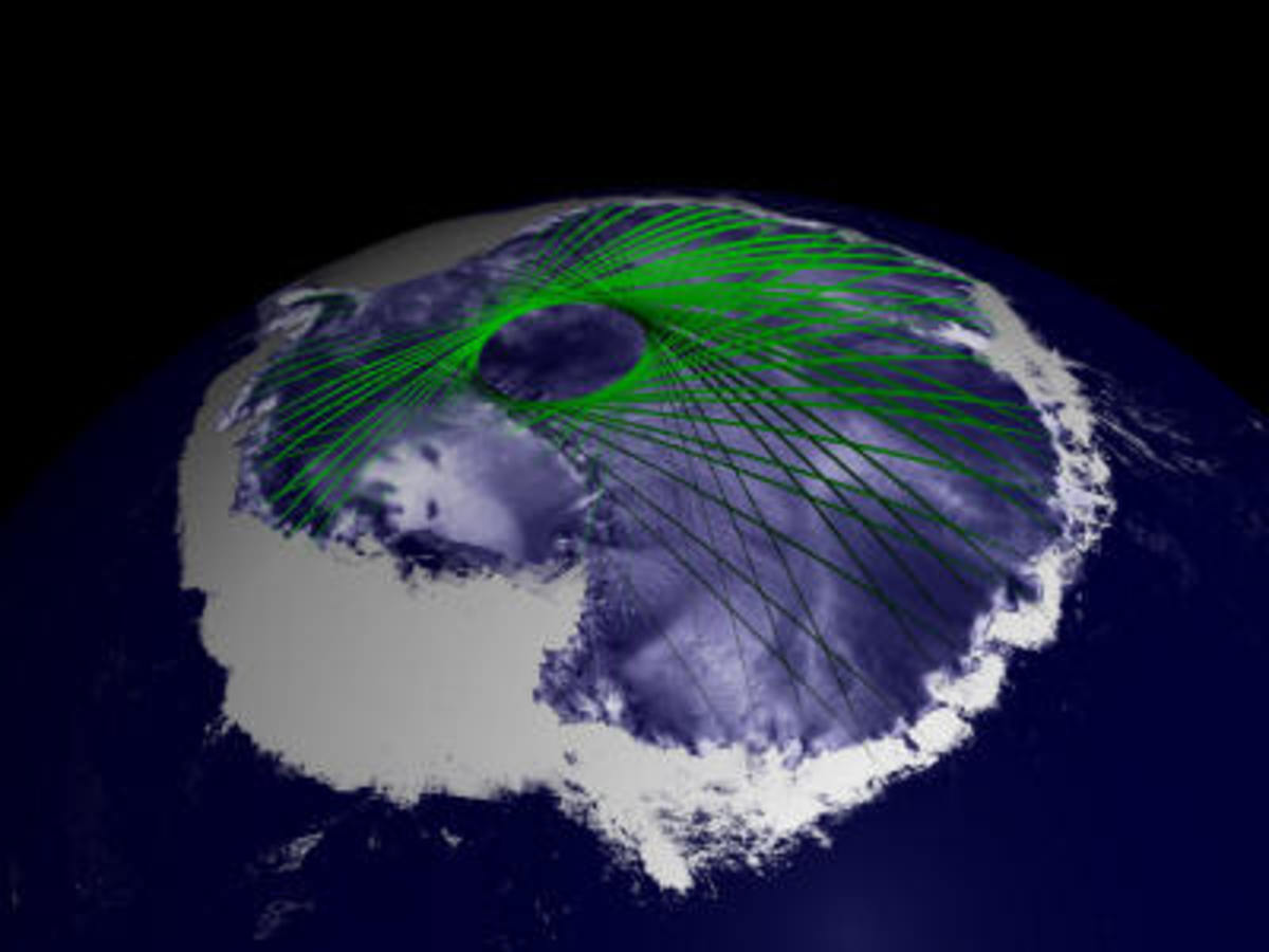This image shows how ICESAT captures the network of satellites that criss-cross the globe leaving a black hole of information retrieval at the true North Pole.