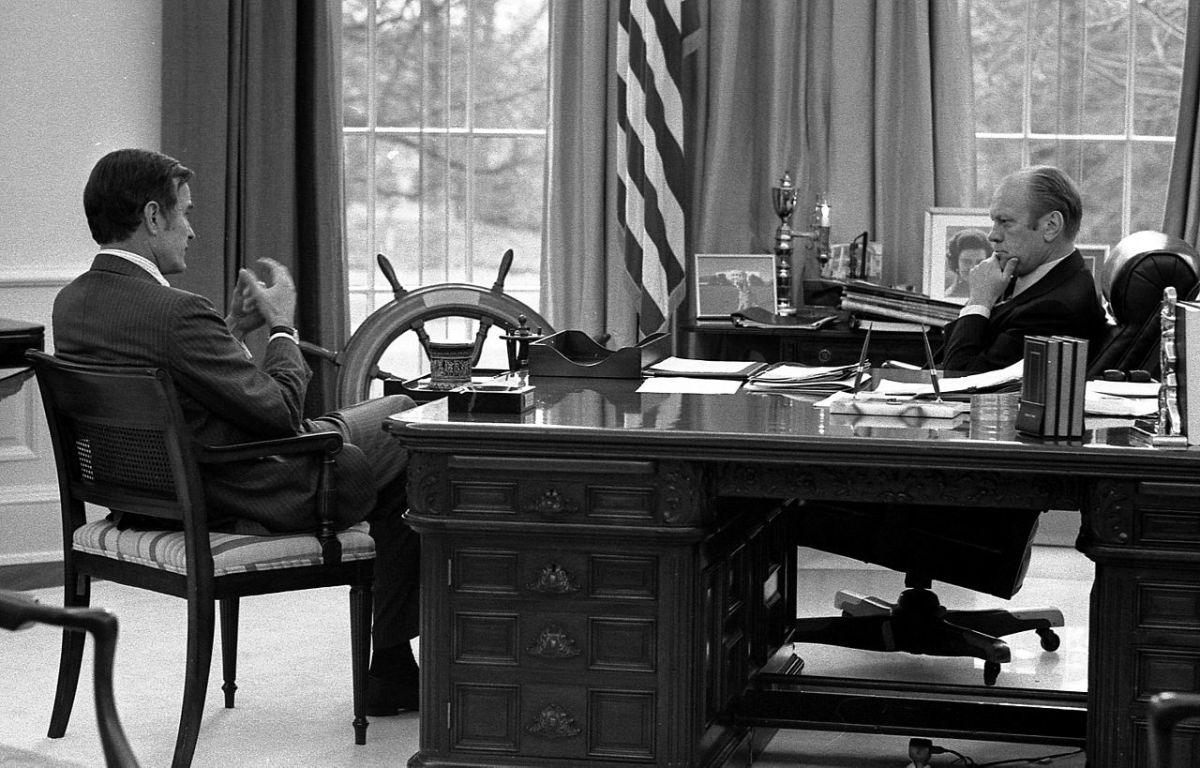 President Gerald Ford meets with CIA chief George H.W. Bush