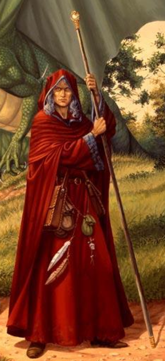 Raistlin Majere (c) Weis & Hickman, the Red Robes mage of the Dragonlance series. Twin brother of Caramon, he later becomes a mage of the Black Robes (pictured below).