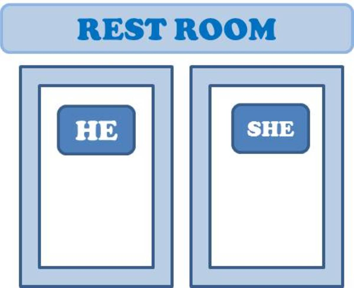 """He"" and ""She"" are used to label rest rooms."