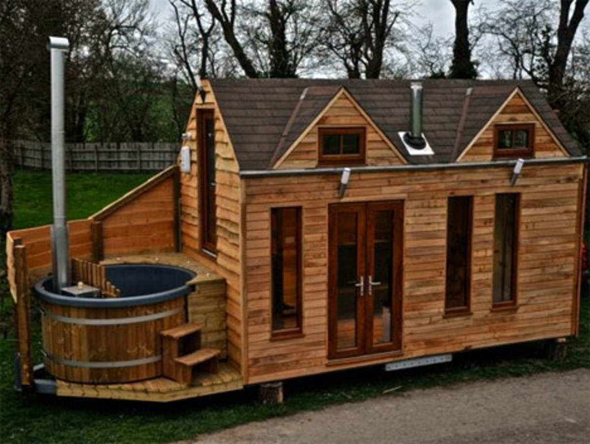 You don't have to give up luxuries when opting for a house on wheels - get one with its very own hot tub!
