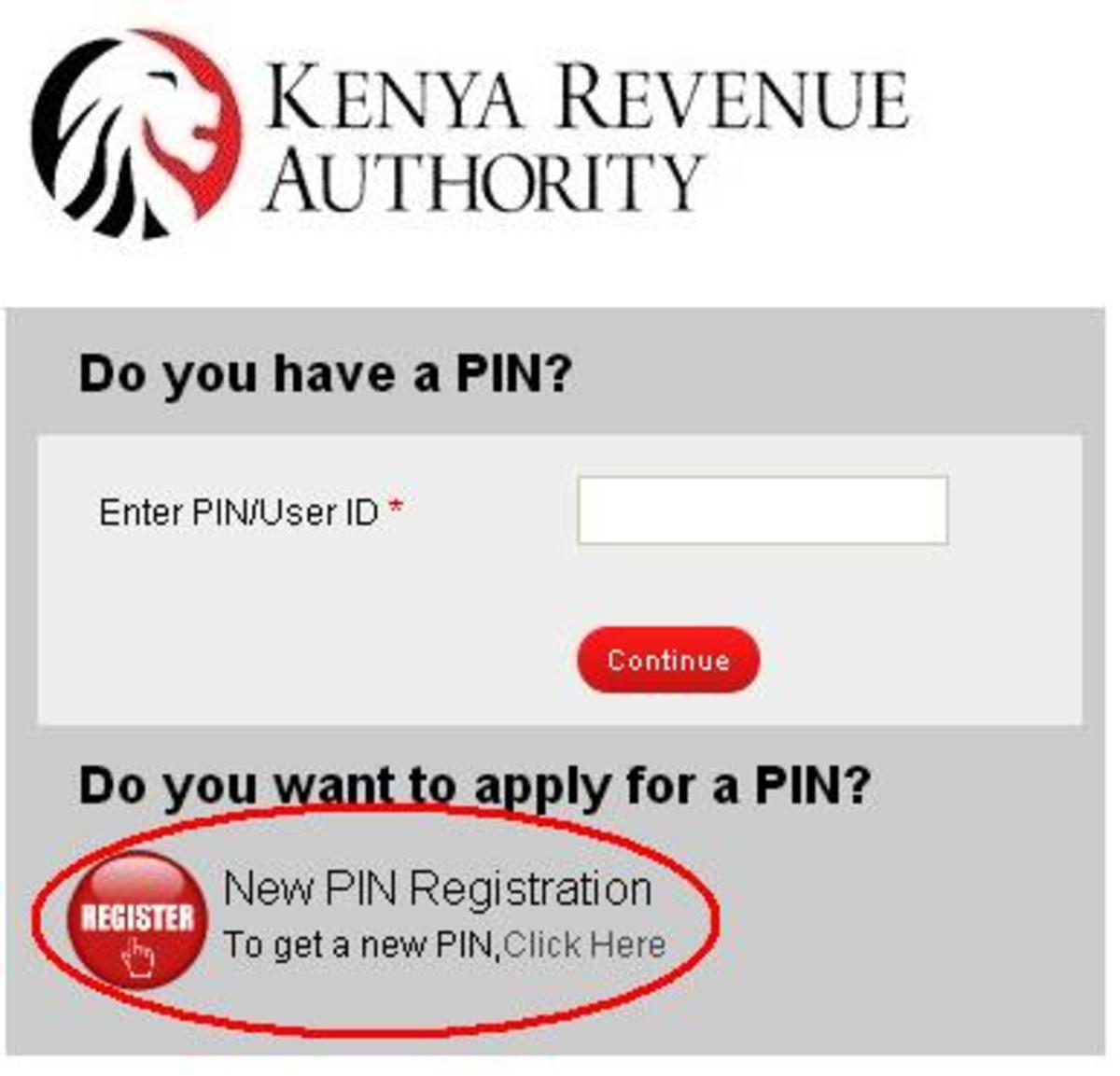 Click on Register to start the process of Itax PIN application