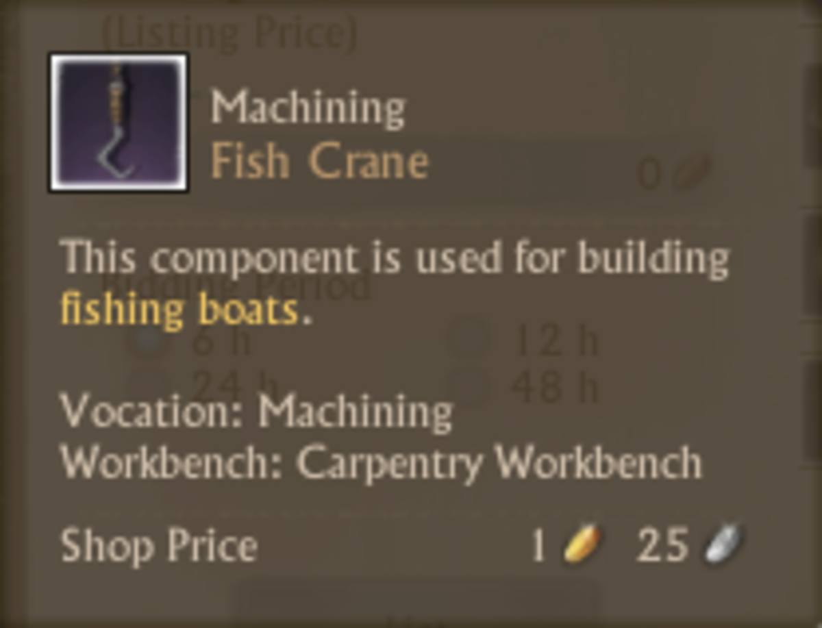 ArcheAge fishing crane crafting guide for the fish-find longliner boat