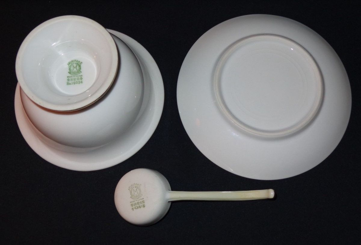 The mayo bowl is marked with the green Noritake #16034 stamp, and the ladle is marked with the green Noritake #43061 stamp. The under-plate has no marking.