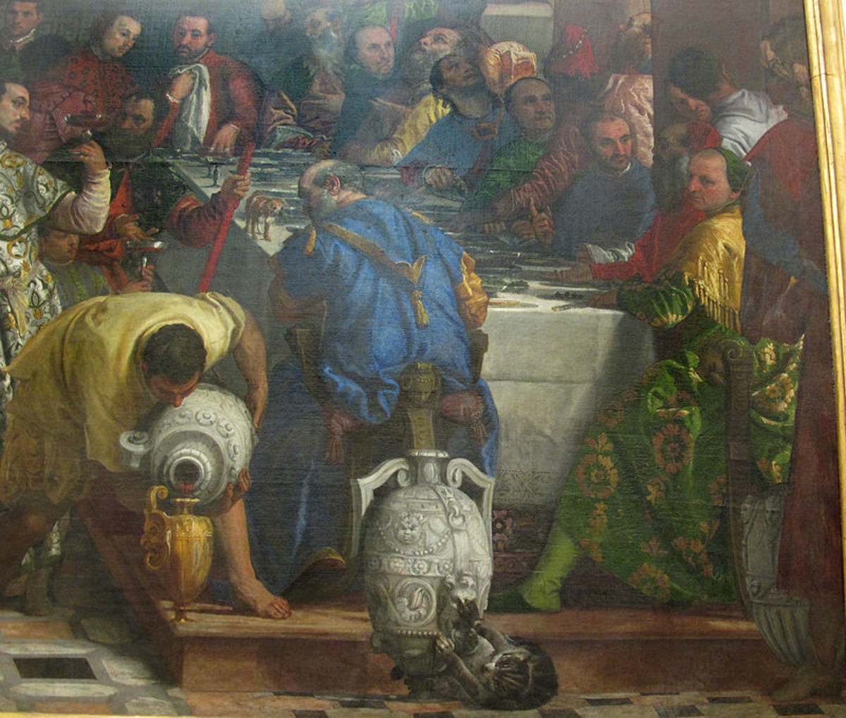 Paolo Veronese, Wedding at Cana, detail of the left side of the banquet (1563), Paris Musée du Louvre