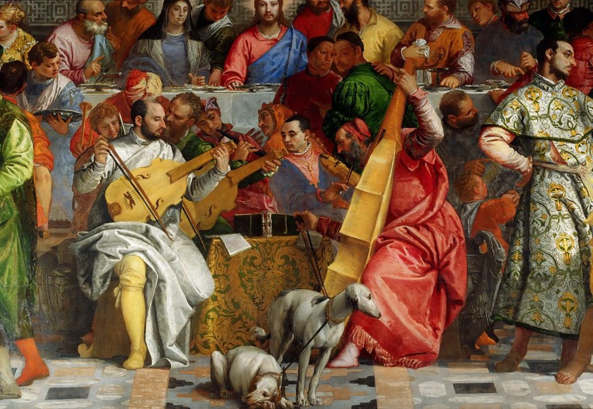 Paolo Veronese, Wedding at Cana, Veronese and Titian pictured as musicians at the centre of the banquet (1563), Paris Musée du Louvre
