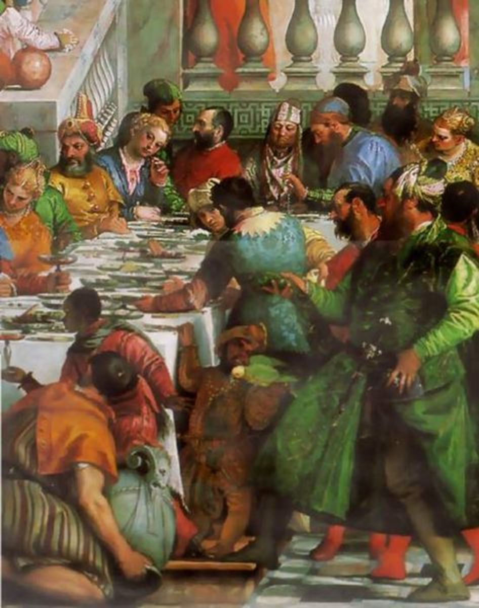 Paolo Veronese, Wedding at Cana, detail of the right side of the banquet (1563), Paris Musée du Louvre