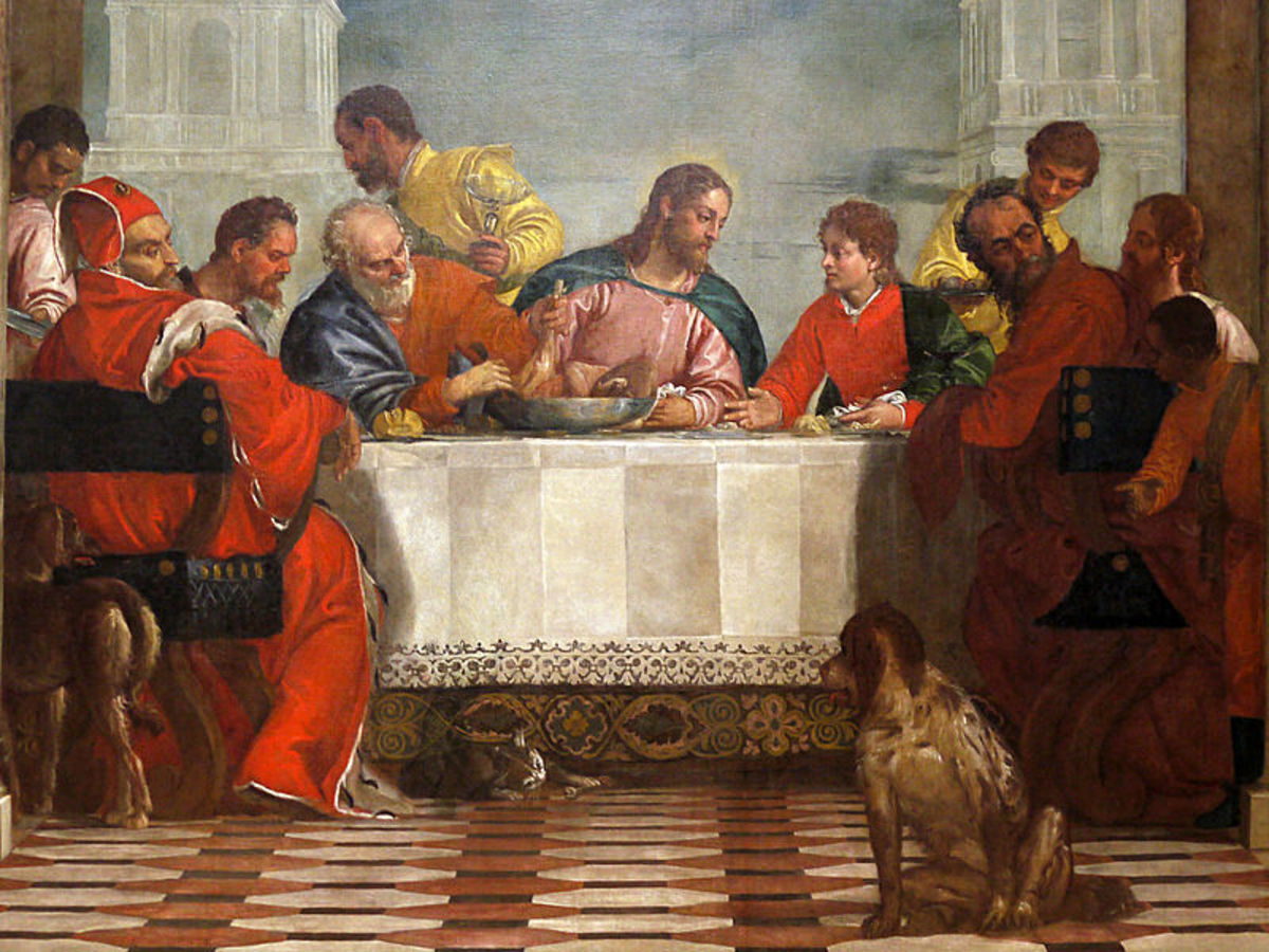 Paolo Veronese, Feast in the House of Levi, detail of Christ and the apostles in the centre (1573), Venice Gallerie dell'Accademia