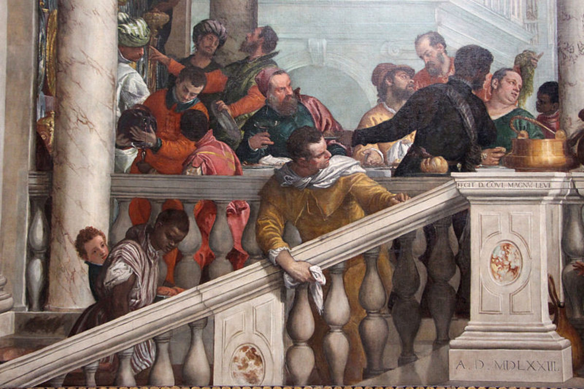Paolo Veronese, Feast in the House of Levi, detail of the right side of the banquet (1573), Venice Gallerie dell'Accademia