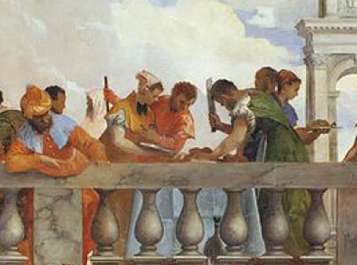 Paolo Veronese, Wedding at Cana, detail of the servants on the balustrade (1563), Paris Musée du Louvre