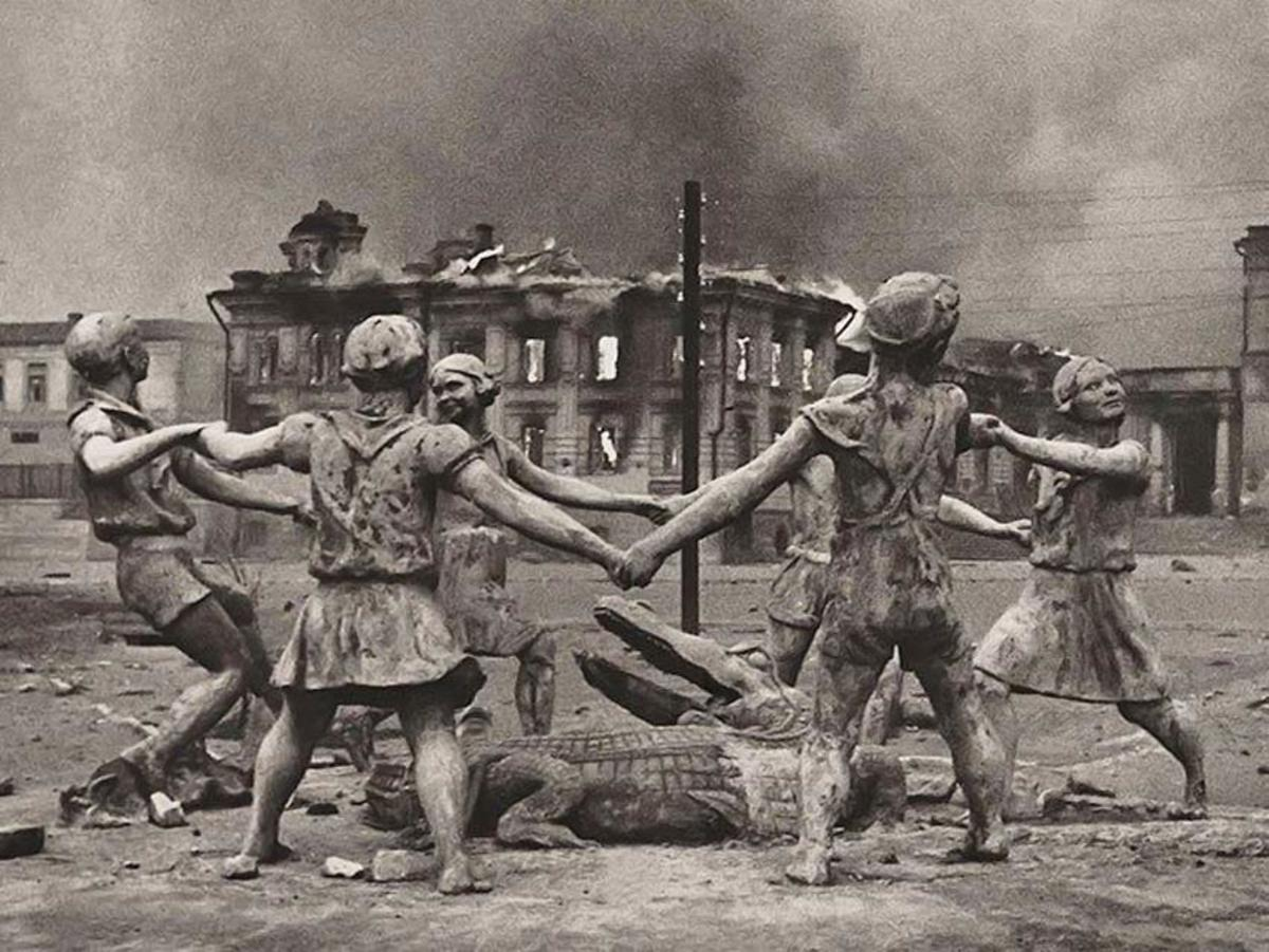 The statue a circle of 6 children dancing around a crocodile. It became a symbol to the violence and destruction that took place in Stalingrad. It was located near where the most savage fighting took place yet it would remain mostly undamaged.