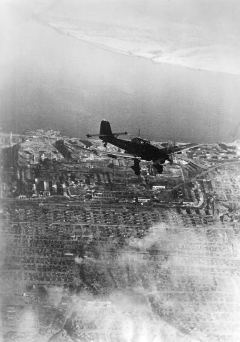 Stuka or Junkers Ju 87 dive bomber hitting strong points in the city of Stalingrad summer of 1942.